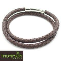 【Thompson London】ステンレス・ダブルラップ・牛革ブラウンのブレスレット(ブレスレット)