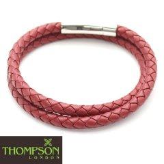【Thompson London】ステンレス・ダブルラップ・牛革レッドのブレスレット(ブレスレット)