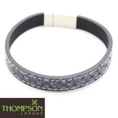 【Thompson London】ステンレス・ステッチ・牛革グレーのブレスレット(ブレスレット)