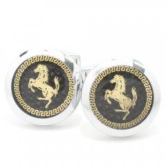 金の馬がゴージャスなブラックカーボンのカフス(カフリンクス/カフスボタン)