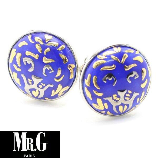 【Mr.G】ブルー・ゴールデン・ライオンのカフス(カフリンクス/カフスボタン)