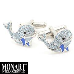 【MONART】キラキラスワロフスキー・キュートなクジラのカフス(カフリンクス/カフスボタン)
