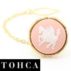 【陶華・TOHCA】ゴールド・ラウンド・ペガサス・ピンクのタイタック(ピンブローチ)