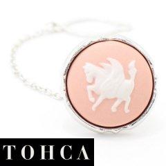 【陶華・TOHCA】シルバー・ラウンド・ペガサス・ピンクのタイタック(ピンブローチ)