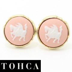 【陶華・TOHCA】ゴールド・ラウンド・ペガサスカメオ・ピンクのカフス(カフリンクス/カフスボタン)