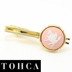 【陶華・TOHCA】ゴールド・ラウンド・ペガサス・ピンクのタイピン(ネクタイピン)