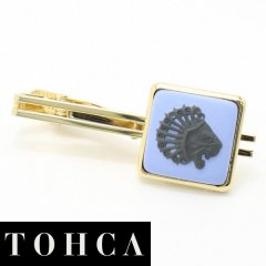 【陶華・TOHCA】ゴールド・スクウェア・ライオンカメオ・ブルーのタイピン(ネクタイピン)