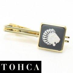 【陶華・TOHCA】ゴールド・スクウェア・ライオンカメオ・グレーのタイピン(ネクタイピン)