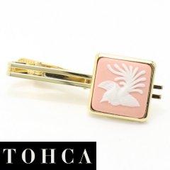 【陶華・TOHCA】ゴールド・スクウェア・鳳凰カメオ・ピンクのタイピン(ネクタイピン)