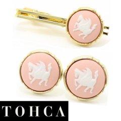 【陶華・TOHCA】ゴールド・ラウンド・ペガサスカメオ・ピンクのカフスセット(タイピンセット)