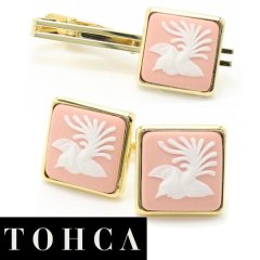 【陶華・TOHCA】ゴールド・スクウェア・鳳凰カメオ・ピンクのカフスセット(タイピンセット)