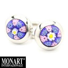 【MONART】ベネチアンガラス・ブルー×ピンク小花・ムッリーネのカフス(カフリンクス/カフスボタン)