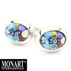【MONART】ベネチアンガラス・オーバル・マルチ小花・ムッリーネのカフス(カフリンクス/カフスボタン)