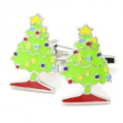 カラフルなクリスマスツリーのカフス(カフリンクス/カフスボタン)