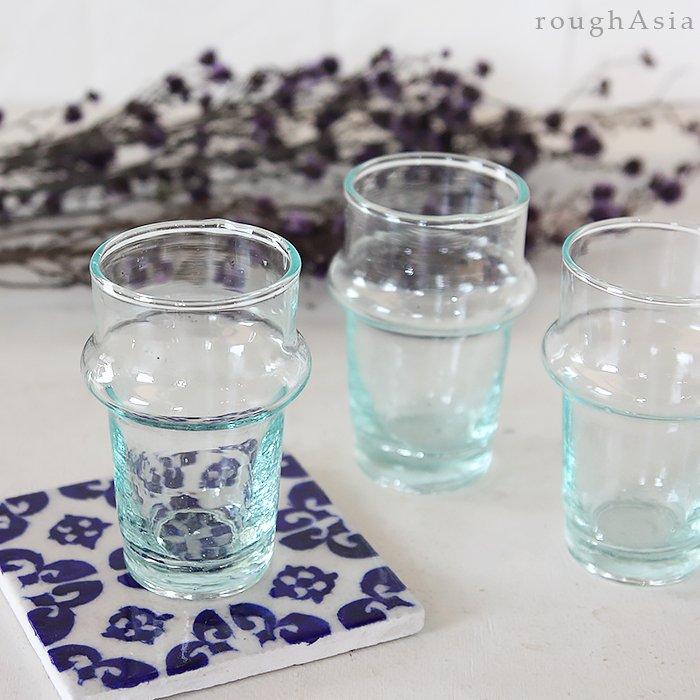 モロッコのリサイクルガラスのミントティーグラス(9cm)
