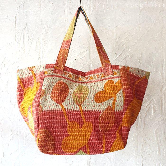 【various】 カンタ刺繍(ラリーキルト) ビッグトートショルダーバッグ- A オレンジ