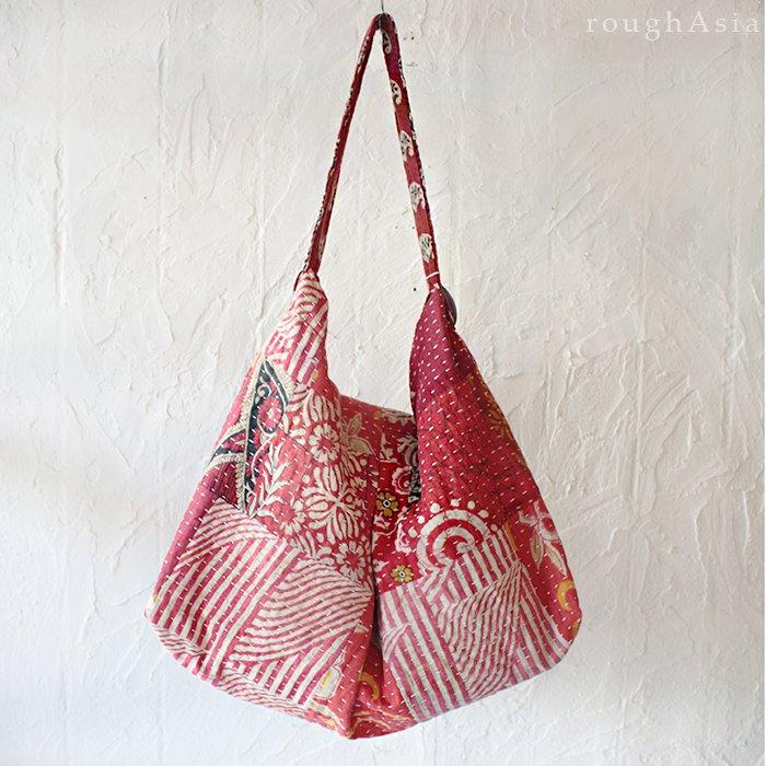 【various】 カンタ刺繍(ラリーキルト) ビッグショルダーバッグ- B ピンク