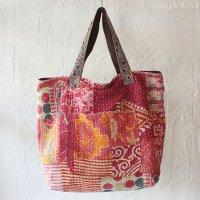 【various】 カンタ刺繍(ラリーキルト) ビッグショルダーバッグ- C レッド