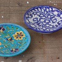 インド ジャイプール陶器の飾りプレート/2色