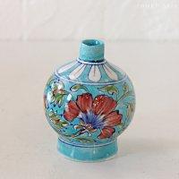 インド ジャイプール陶器の一輪挿し −花柄ターコイズ