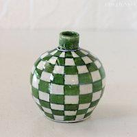 インド ジャイプール陶器の一輪挿し −市松グリーン