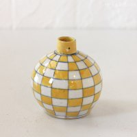 インド ジャイプール陶器の一輪挿し −市松イエロー