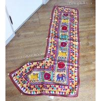 インドの刺繍古布タペストリー トーラン - G