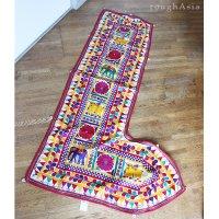 インドの刺繍古布タペストリー トーラン - H