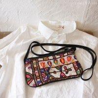[Various]カッチ刺繍とスエード素材のショルダーポシェットバッグ