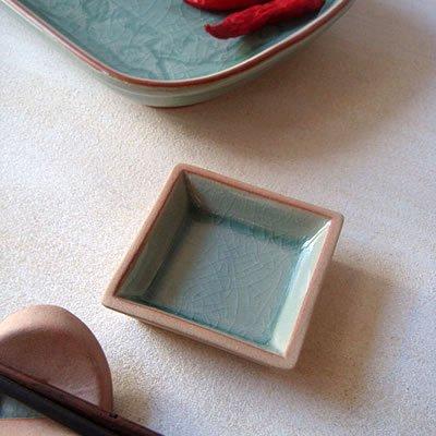 【セラドン焼】豆皿 - 角 6.5cm角
