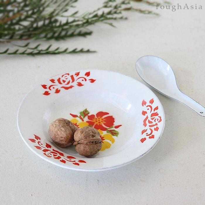 タイ 琺瑯(ホーロー)製 花柄レトロプレート(お皿)/18cm