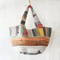 【various】 裂き織り 丸底ラウンド トートバッグ - B