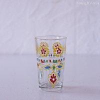 モロッコ/プリントグラス フラワー8�/花柄ミントティーグラス
