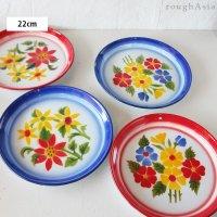 タイ 琺瑯(ホーロー)製 花柄レトロトレー(トレイ) Sサイズ