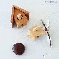 【 木製モビール 】 −ブタと家