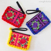 タイ・チェンマイ/モン族(チャイナモン族) 民族刺繍とぼんぼんのポーチ3色
