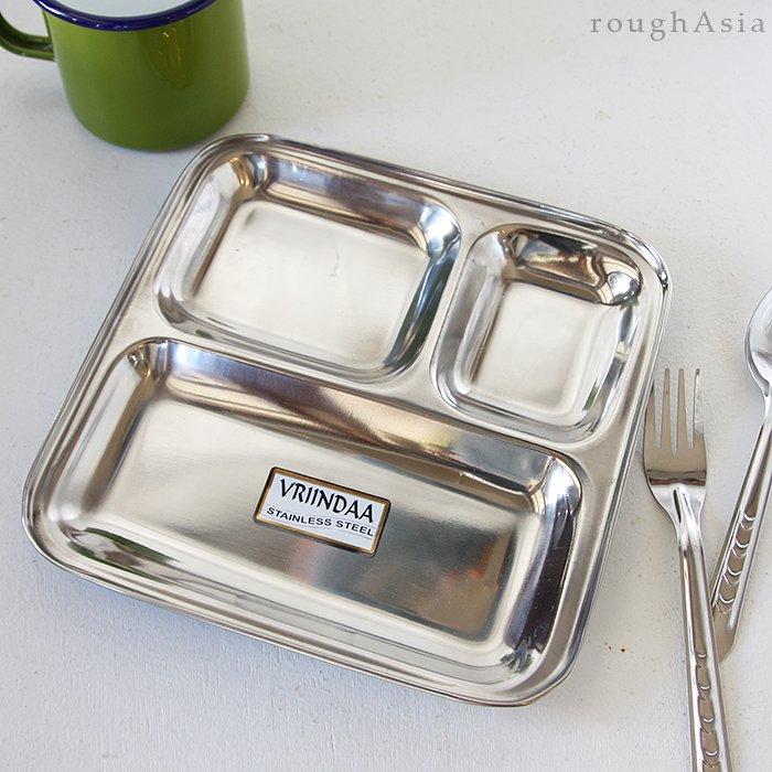 インド/ステンレス製ミールプレート スクエア/カレー皿割れないランチプレート