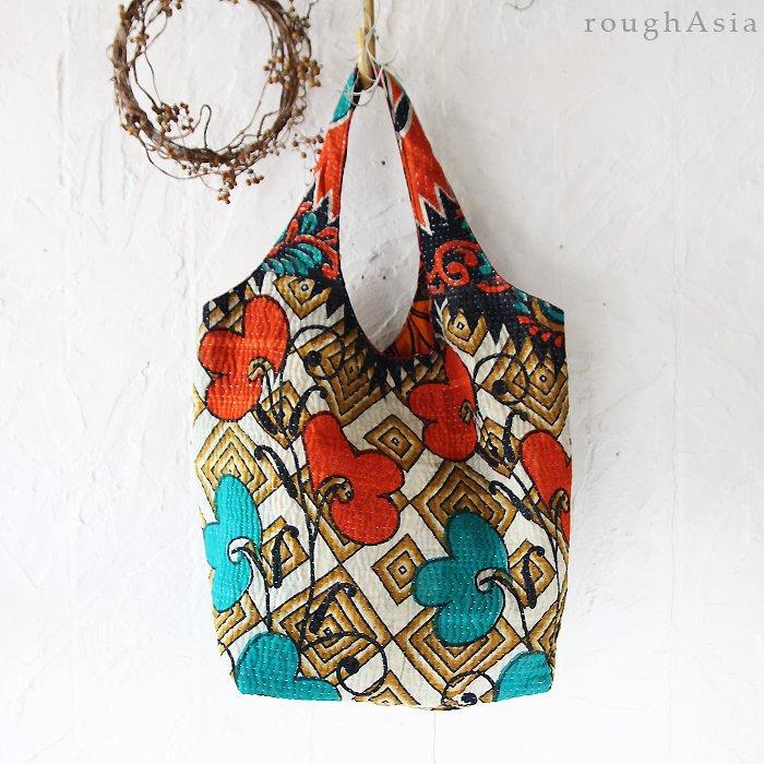 various カンタ刺繍/インドの刺し子 タテ型バッグ
