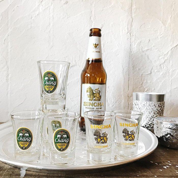 タイのビール柄ショットグラス  シンハー/チャーン