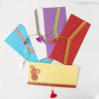 インド チマンラール/タッセル付き封筒5枚入−ペイズリー /ご祝儀袋