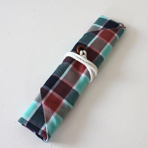 【roughAsia】オリジナル 箸袋(箸キャップ付) -ブルーチェック