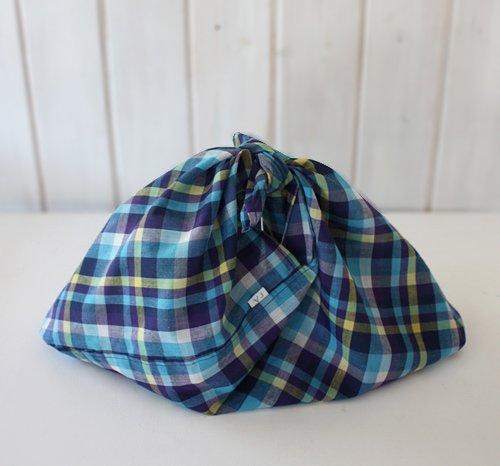 【roughAsia】オリジナル 東袋(あづま袋) -マドラスチェック Lサイズ/かごバッグ用インナーバッグに