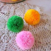 【大きなボンボン  5cm 各3色(ピンク/グリーン/イエロー)】 手作りパーツやアレンジに