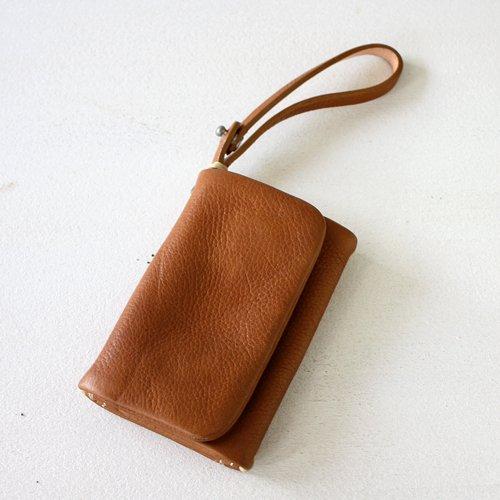 【GUATE】本革レザーキーケース pocket - キャメルブラウン