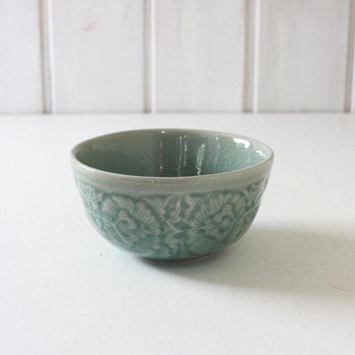 【セラドン焼】小鉢・小どんぶり 浮彫り - 青緑