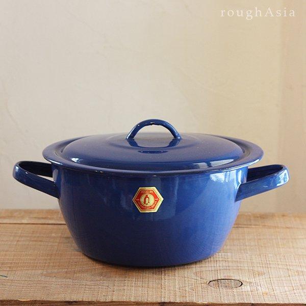 タイの青い両手鍋 各6サイズ/琺瑯製取っ手鍋 ホーローボウル