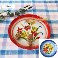 タイ 琺瑯(ホーロー)製 花柄レトロトレー(トレイ) Mサイズ