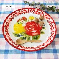 タイ 琺瑯(ホーロー)製 花柄レトロトレー(トレイ) Lサイズ/35cm