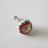 インドのセラミック(陶器)チェストノブ - 赤い花