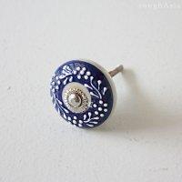 インドのセラミック(陶器)チェストノブ - ブルーホワイト